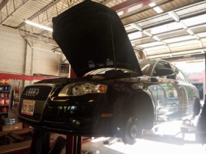 Audi car on lift for maintenance