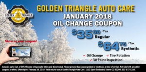 January 2018 Oil Change Coupon