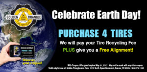 Free Tire Recycling with 4 New Tires from Golden Triangle Auto Care