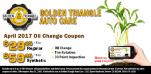 April 2017 Oil Change Coupon from Golden Triangle Auto Care