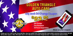 Oil Change Coupon July 2016