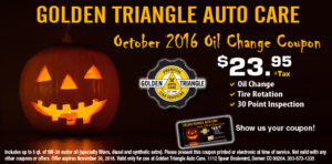 October 2016 Oil Change Coupon w/Pumpkin