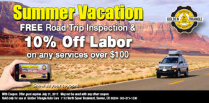 Summer Vacation Road Trip Inspection Coupon