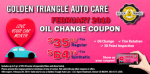 Oil Change Coupon February 2019