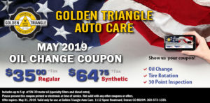 Oil Change Deal May 2019 $35/regular or $64.75/synthetic oil