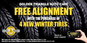 Free Alignment with 4 New Winter Tires October 2019