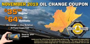 Oil Change Deail $35/reg or $64.75/synthetic Nov 1-Nov 30 2019
