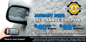 January 2020 Oil Change Coupon $40 regular or $69.75 synthetic up to 5 quarters of oil