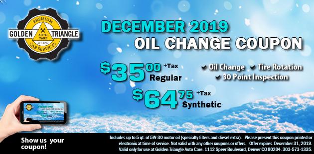 December 2019 Oil Change Deal $35/regular or $64.75 sythetic plus tax