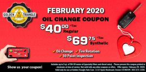 February 2020 Oil Change Coupon $40 reg or $69.75 synthetic valud through Feb 29 2020