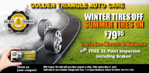 Winter Tires Off Summer Tires on $79.95 includes mount + balance valid thru May 31, 2020