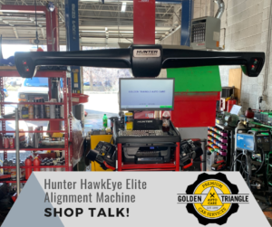 Shop Talk Hunter HawkEye Elite Alignment Machine at Golden Triangle Auto Care Denver CO
