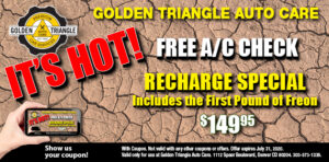 A/C Check and Recharge Special $149.95 first pound freon included expires 7-30-20