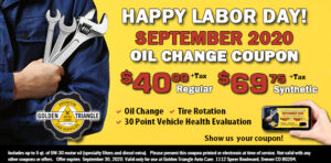 Oil Change Coupon $40 reg or $69.75 speciality valid thru 9-30-20