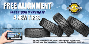 Free Alignment with purchase of 4 new tires valid thru 12-31-20
