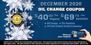 December Coupon Oil Change $40 reg | $69.75 synthetic valid thru 12-31-20