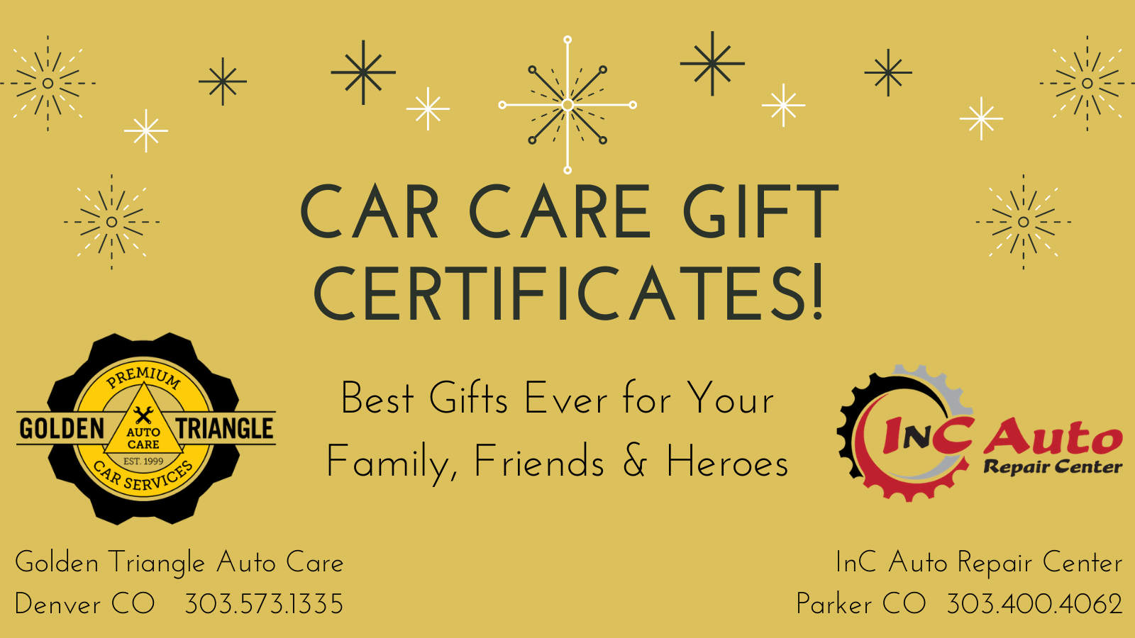 Car Care Gift Certificates - Best Gifts Ever for your Family, Friends & Heroes