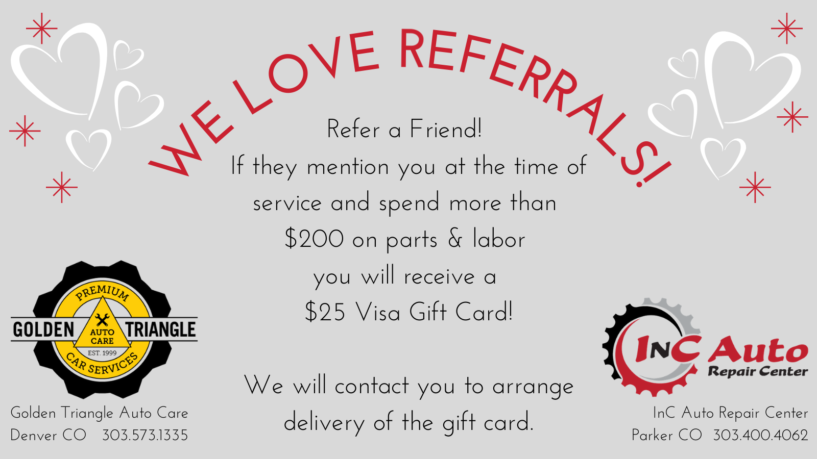 We Love Referrals - Earn a $25 Visa Gift Card