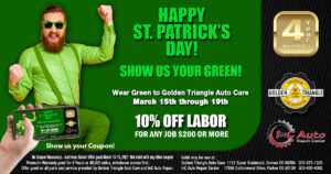Lucky Labor Discount Deal for March 2021 from Golden Triangle Auto Care