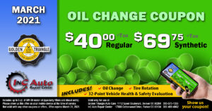Golden Triangle Auto Care Oil Change Coupon Deal March 2021