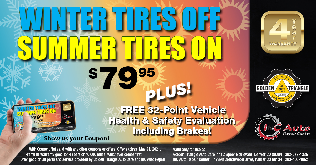 Swap Winter Tires for Summer Tires for just $79.95 at Downtown Denver Auto Shop