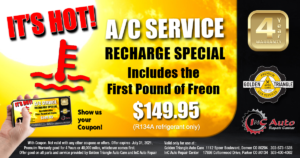 A/C Service Recharge Special 1st Pount of Freon $149.95 (R134A refrigerant only)