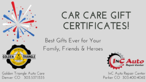 Car Care Gift Certificates Available at Golden Triangle Auto Care in Denver CO