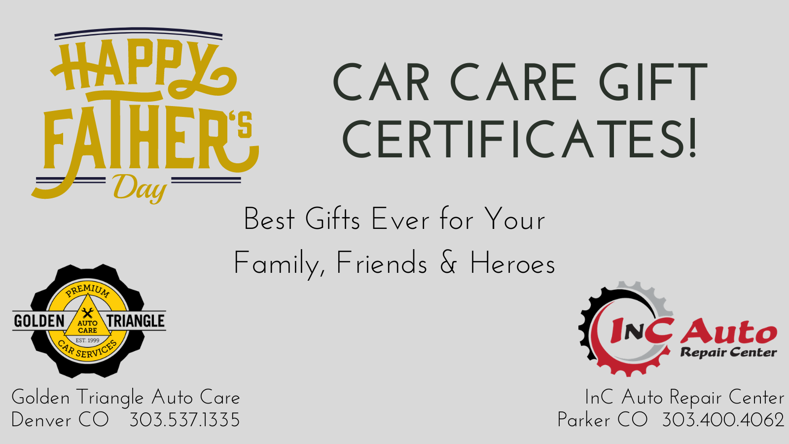 Car Care Gift Certificates in any amount from Golden Triangle Auto Care
