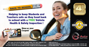 Keeping Students and Teachers Safe on the Road, Downtown Denver Auto Shop offering free 32-point vehicle health and safety evaluation thru 8-30-21
