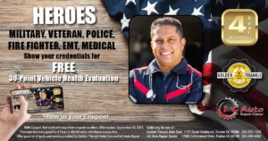 Complimentary Vehicle Health & Safety Evaluation for credentialed heroes valid thru 9-30-21