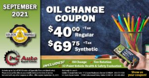 Oil Change Deal $40+tax regular or $69.75+tax synthetic 5 qts valid thru 9-30-21