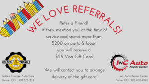Ask about Golden Triangle Auto Care's Customer Referral Program